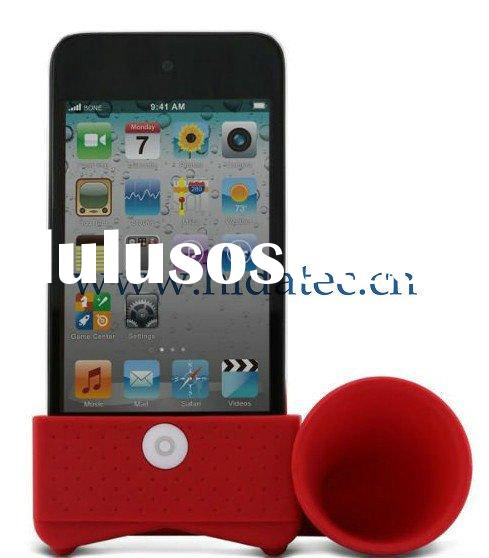Portable Amplifier, Silicone Horn Stand Speaker, Silicone Horn Stand Amplifier Speaker for iPhone 4