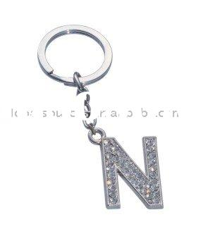 Promotion Fashion Capital Letter N Shape Key Chains with diamands