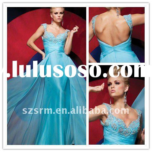Shining A-line Beaded Blue Long Formal Evening Dress