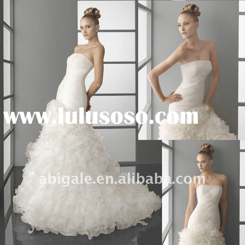 Strapless Sheath Sweep train Organza Cheap Wedding Dress(NS10366)