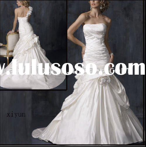 Strapless drape flower ball puffy wedding dress bride gown bridal dress