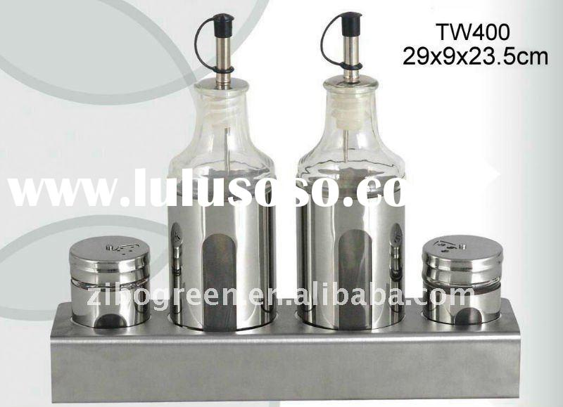 TW400 glass cruet jar set with stainless steel casing and stand
