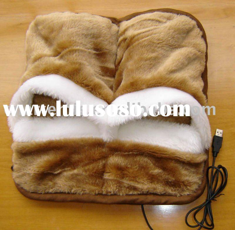 USB Foot Warmer Electric Heat Slipper Fleece Boot Shoes OEM