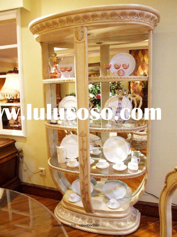 White glass and wood display cabinet,wooden glass cabinet,display cabinet(B50560)