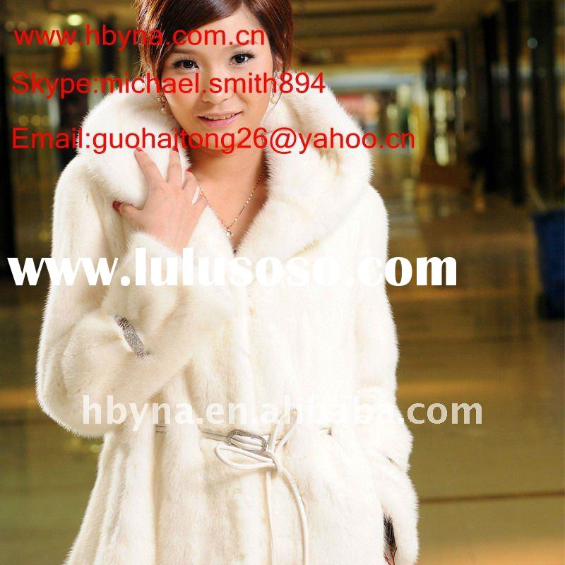 White mink fur coat with a hat