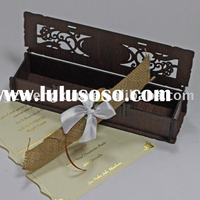 Wooden invitation card with a box outline and a fancy scroll inner paper tied a ribbon bow-WN048