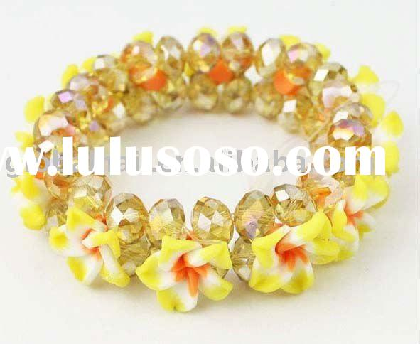 Yellow Flower& Crystal Glass Shiny Polymer Clay Flower Bracelet Beauty Ornaments