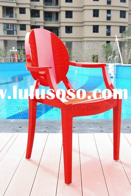 *AC080 Solid Red*- Ghost Chair/Ghost Louis Chair/Transparent Chair/PC Chair/Polycarbonater/Plastic F