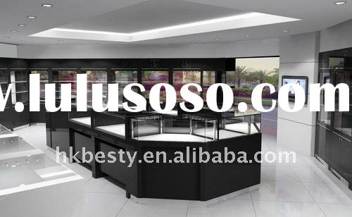 black glossy wood jewelry display showcase,jewelry store design