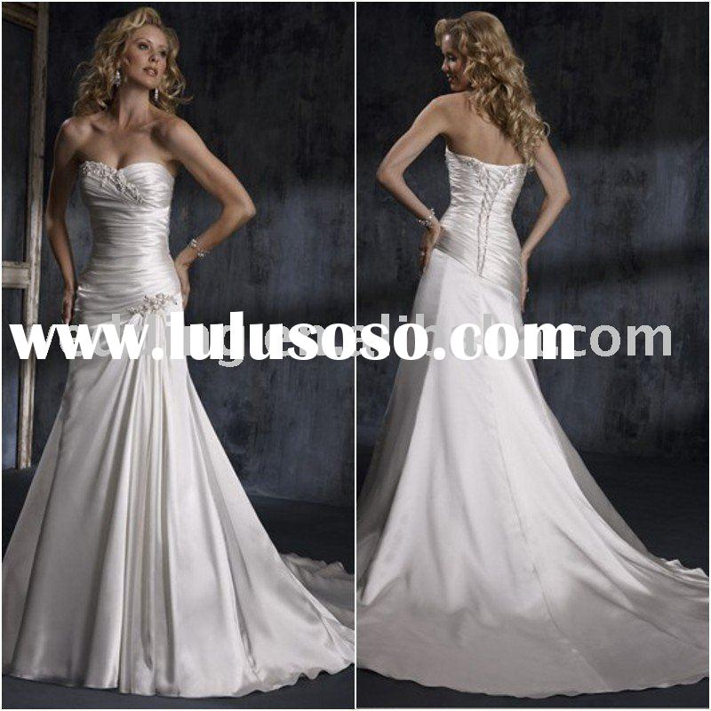 cheap ivory satin mermaid manufacture wedding dresses