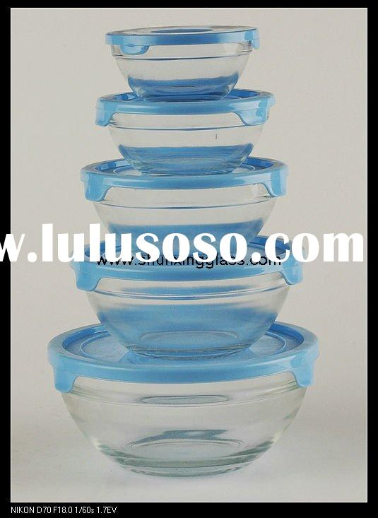 clear glass bowl set with plastic lid