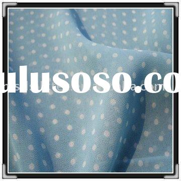 dot printed 100%silk chiffon fabric