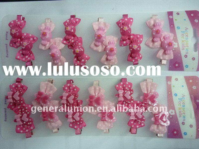 fabric knot & plastic heart shanped or animal shaped hairgrips & hair clips with metal clip