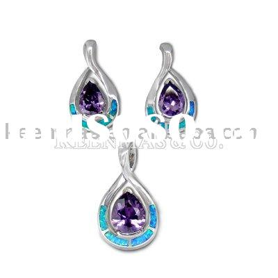 fashion silver925 jewelry sets with opal and CZ stones,competitive price & high polished artwork