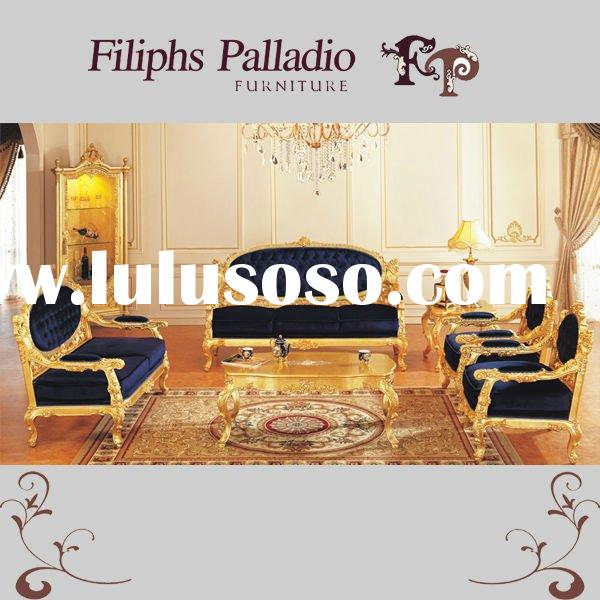 french antique furniture - all golden foil living room sofa set