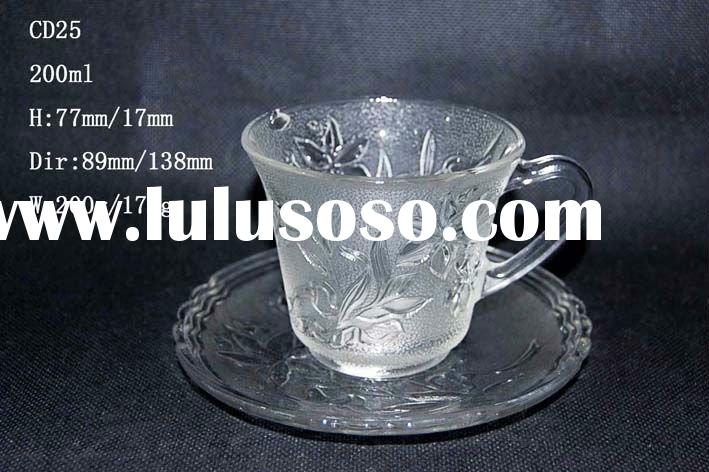glass cup & saucer set