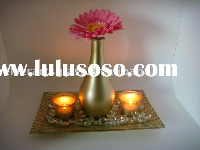 gold glass vase set with candle holders flower for home decoration factory