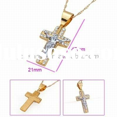 hot religious jewelry and gold cross pendant necklace with icon on