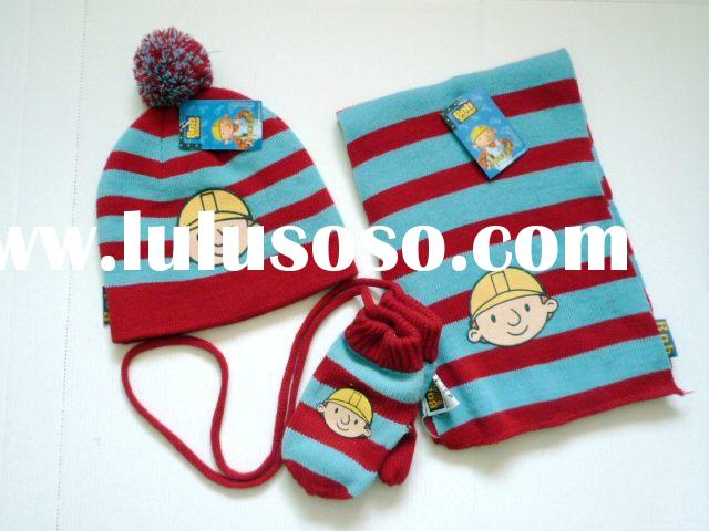 kids Knitted hat&scarf set,kids winter hat&scarf set,kids fashion hat&scarf set