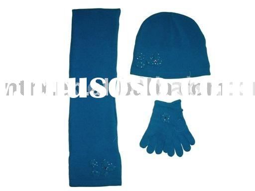 knitted scarf,knitted glove,winter hat,ladies' knitting set RX25349