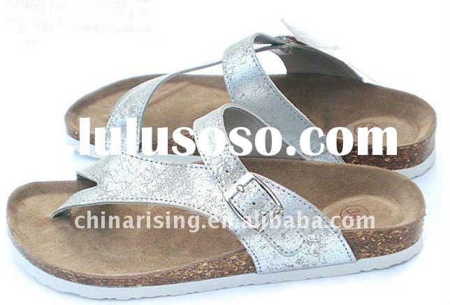 ladies fashion flat leathter slippers