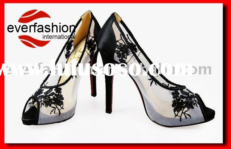 ladies high heel dress shoes with net surface EV-1008