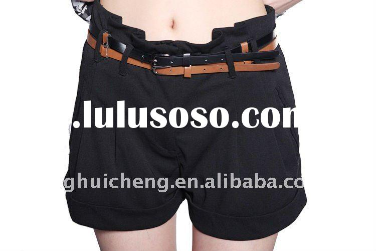 ladies hot shorts with double belt new fashion 2012