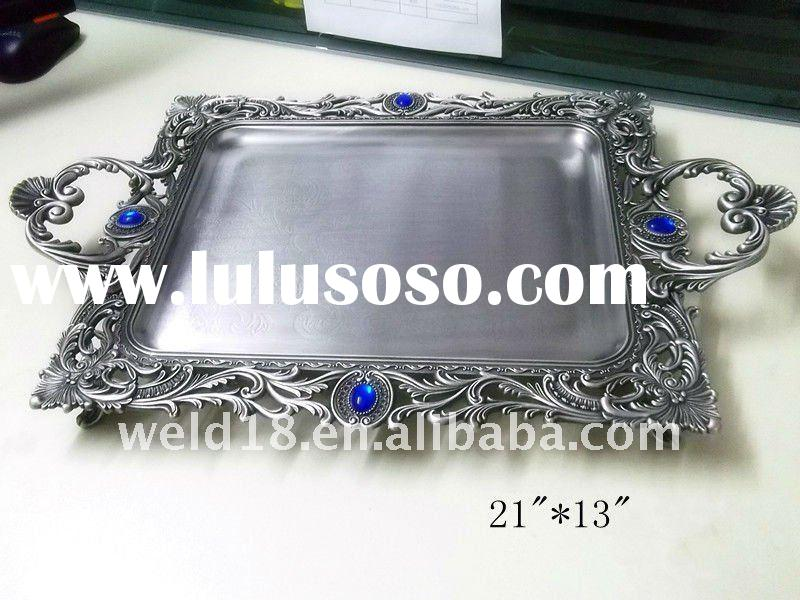 rectangular pewter tray/table zinc alloy metal tray