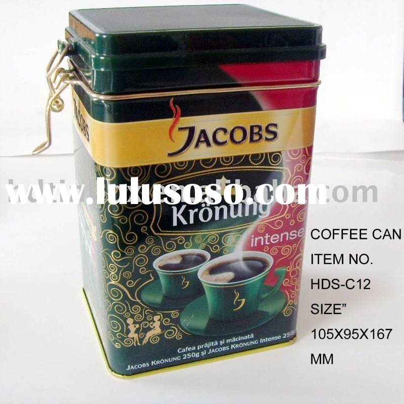 square coffee or tea tin box with airtight lid