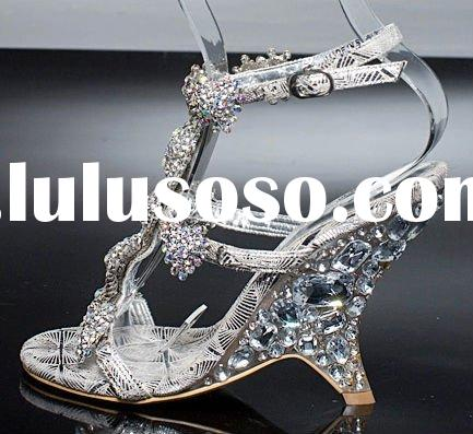 the new design crystal high heel sandal shoes