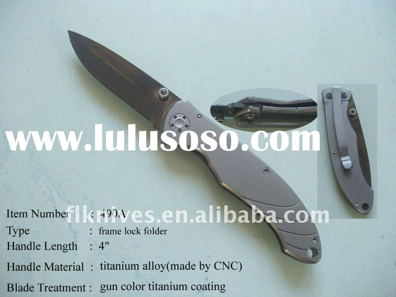 very elegant best folding knife with titanium alloy handle milled by CNC machine