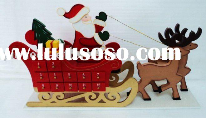 wooden christmas advent calendar sleigh,deer+santa