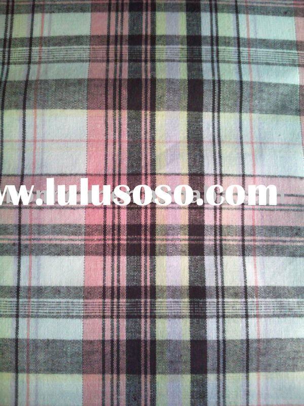 yarn dyed metal cotton check fabric