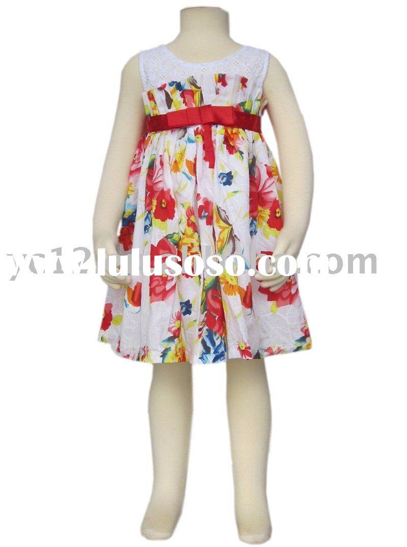 100% Cotton Pierced Lace Splice Print Sleeveless Baby Frock