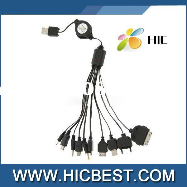 10 in 1 Multi USB Charge Retractable Cable