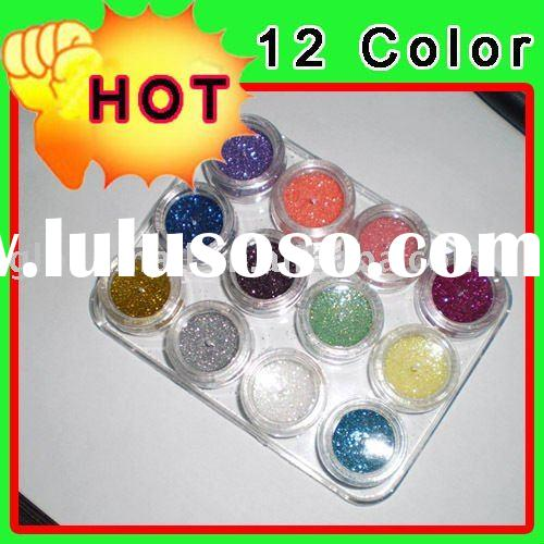 12 Color Glitter Nail Art Acrylic Dust Powder UV GEL Nail Tips