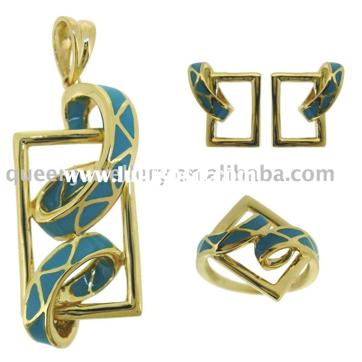 18k solid gold jewelry with turquois enamel QMH016 wholesale direct manufacturer. high class fashion