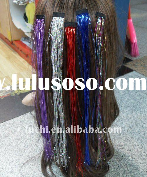 2011 Fashion Hair Tinsel With Clip in Different Colors