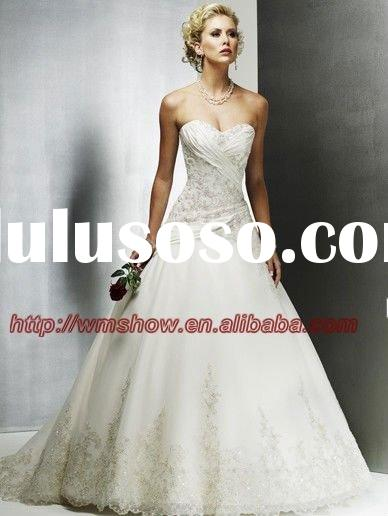 2011 New Arrival Off-shoulder Ballgown Appliqued Lace Wedding Dress Patterns