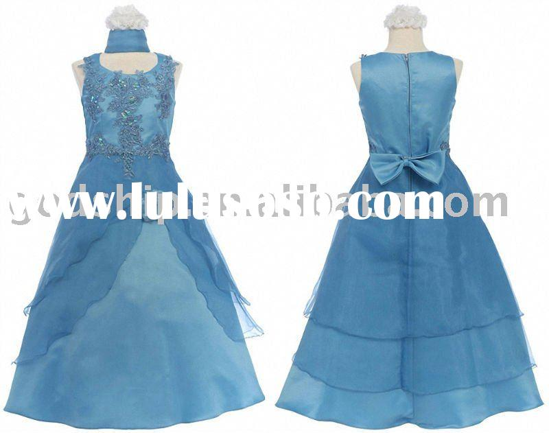 2011 Newest New Style Girl Dress Prom Dresses Embroidered Bodice Flower Girl Dress Blue Color 0018