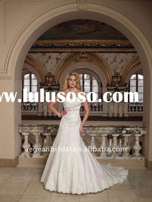 2011 designer strapless sweetheart lace and luxurious satin slim A-line wedding gown XZ-wd1129