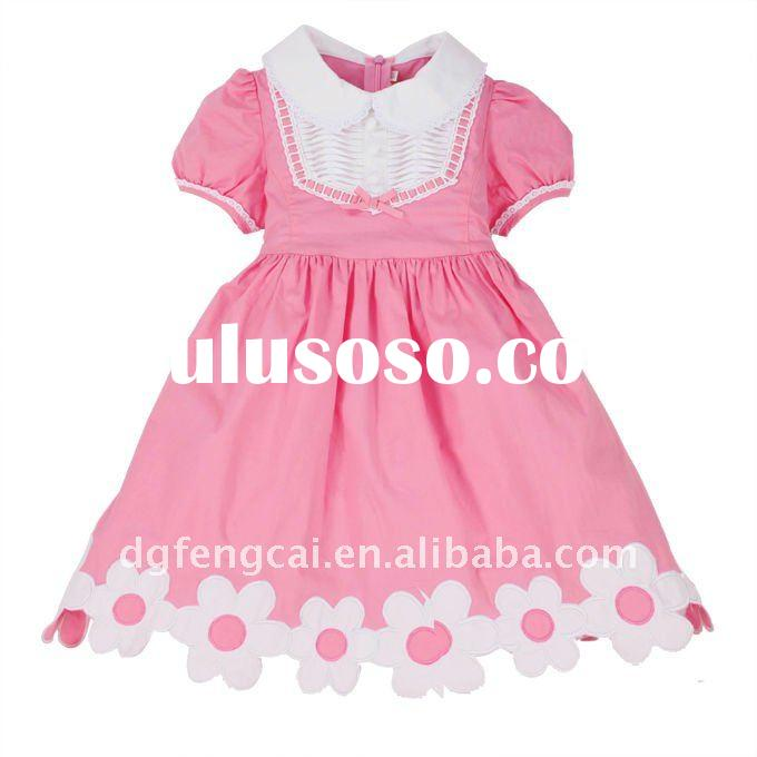 2011 hot sale short sleeve pink party dresses for girls