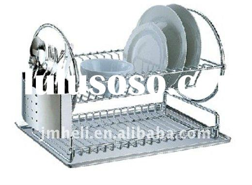 2011 new design stainless steel 2-tier dish rack