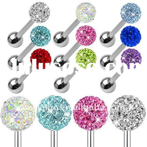 2012 Hot Selling Stainless Steel Rhodium Plated Tongue Rings Jewelry,Body Piercing Jewelry