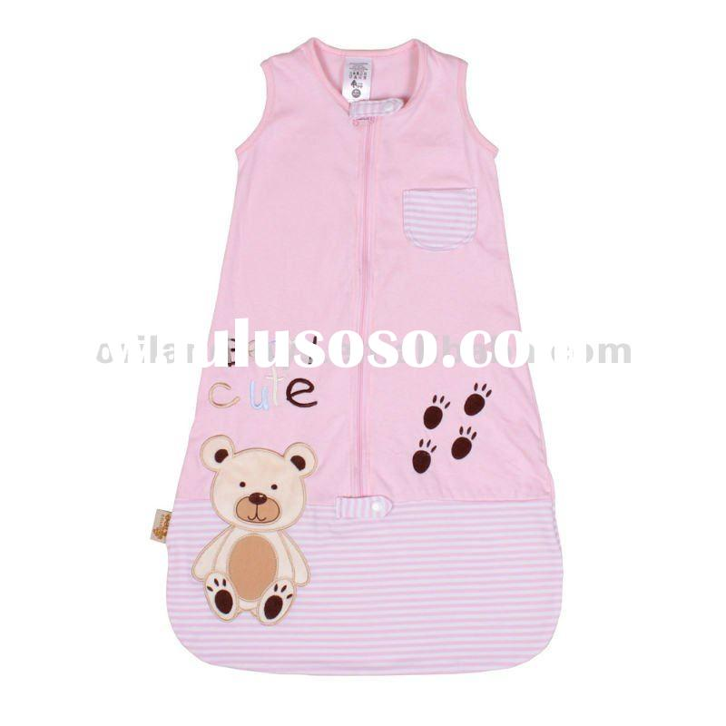 2012 pink teddy bear velvet baby sleeping bag