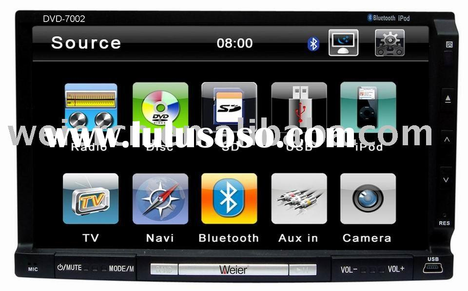 2 DIN car DVD player in dash with touch screenTV/IPOD//RDS/ Bluetooth/GPS/ USB port