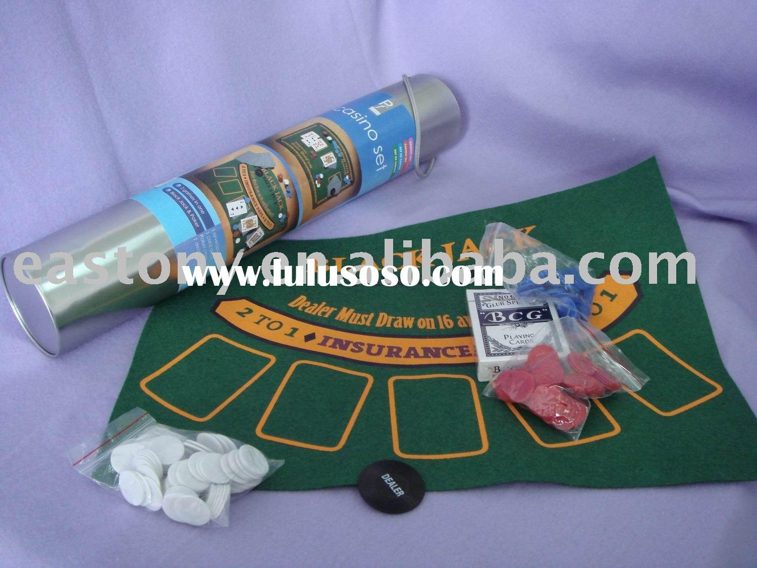 2 in 1 Casino Poker Game Set of Black Jack and Texas Hold'em for Children Games for ET-23001