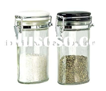 2pcs clear glass salt and pepper shaker