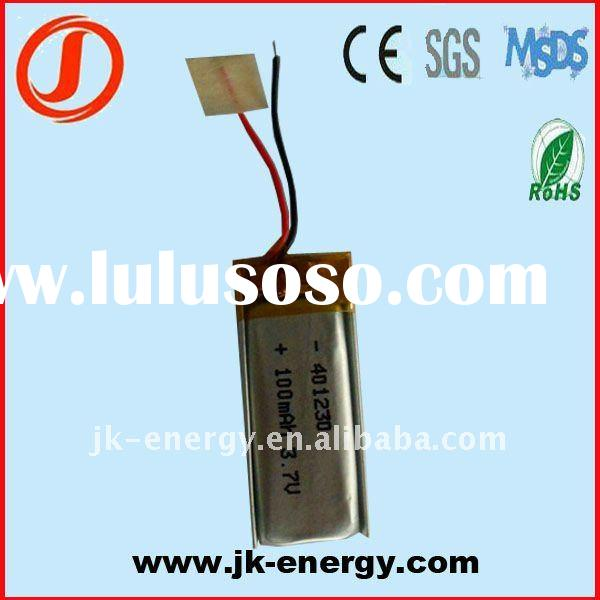 3.7v 100mAh rechargeable lithium ion polymer battery 401230