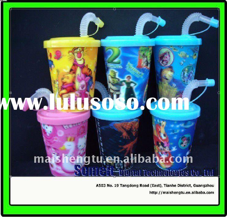 3d drinking cup with lid and straw